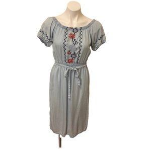 Boho embroidered chambray dress size XS